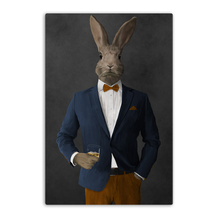 Rabbit drinking whiskey wearing navy and orange suit canvas wall art