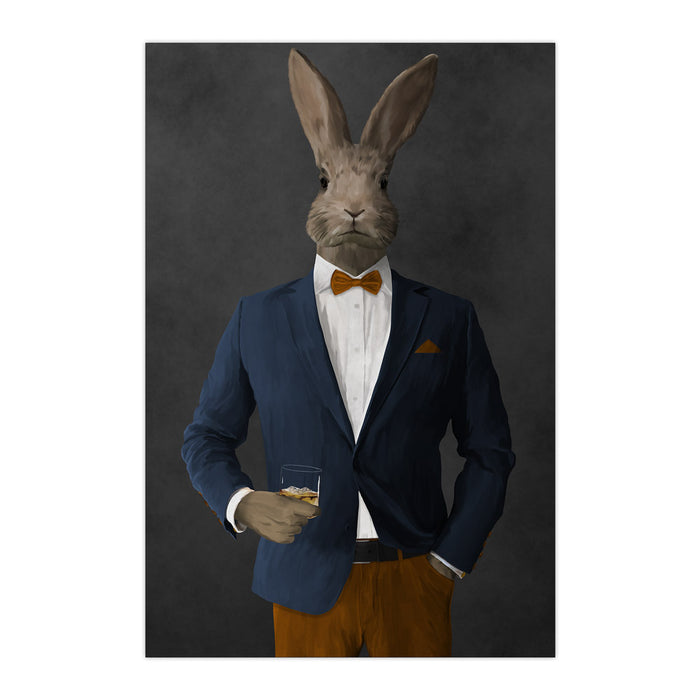 Rabbit drinking whiskey wearing navy and orange suit large wall art print