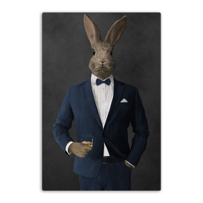 Rabbit drinking whiskey wearing navy suit canvas wall art