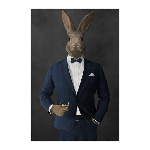 Rabbit drinking whiskey wearing navy suit large wall art print