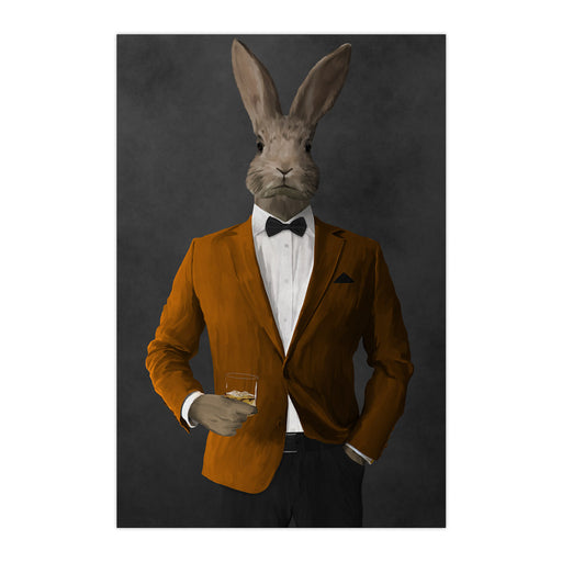 Rabbit drinking whiskey wearing orange and black suit large wall art print