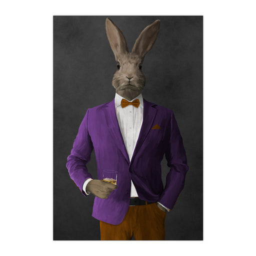 Rabbit drinking whiskey wearing purple and orange suit large wall art print