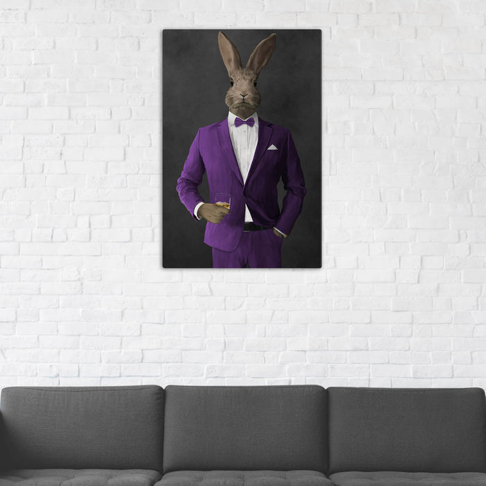 Rabbit Drinking Whiskey Wall Art - Purple Suit