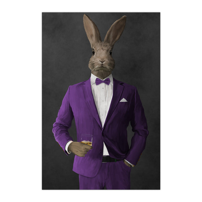 Rabbit drinking whiskey wearing purple suit large wall art print
