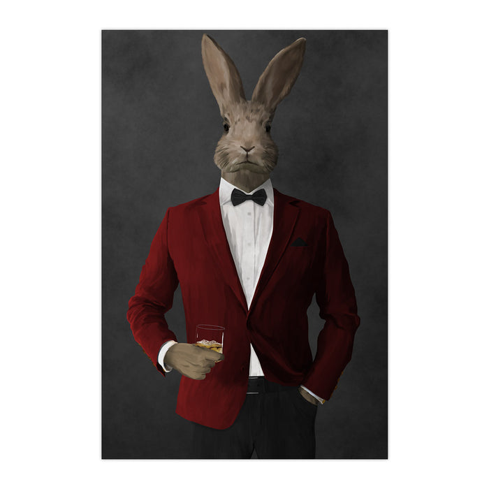 Rabbit drinking whiskey wearing red and black suit large wall art print