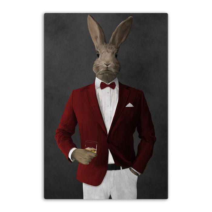 Rabbit drinking whiskey wearing red and white suit canvas wall art