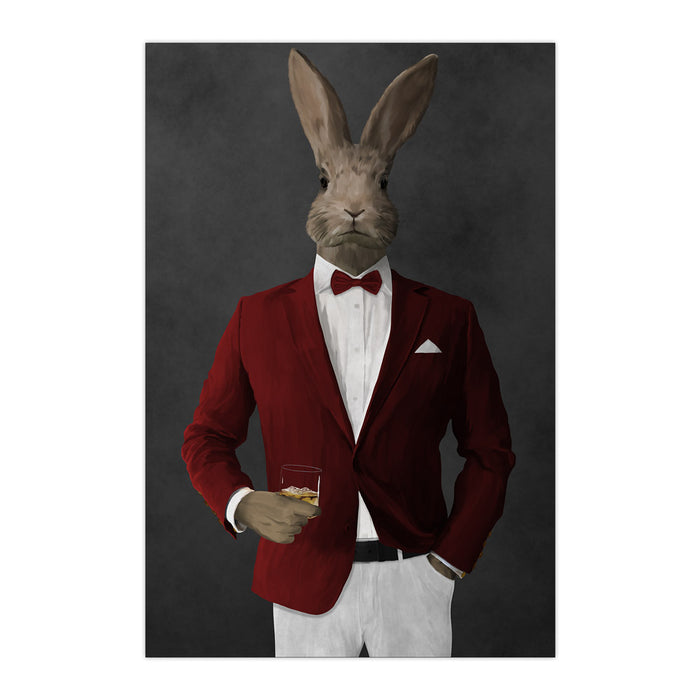 Rabbit drinking whiskey wearing red and white suit large wall art print