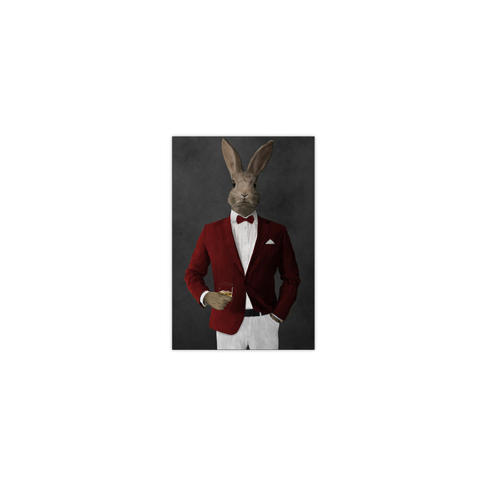 Rabbit drinking whiskey wearing red and white suit small wall art print