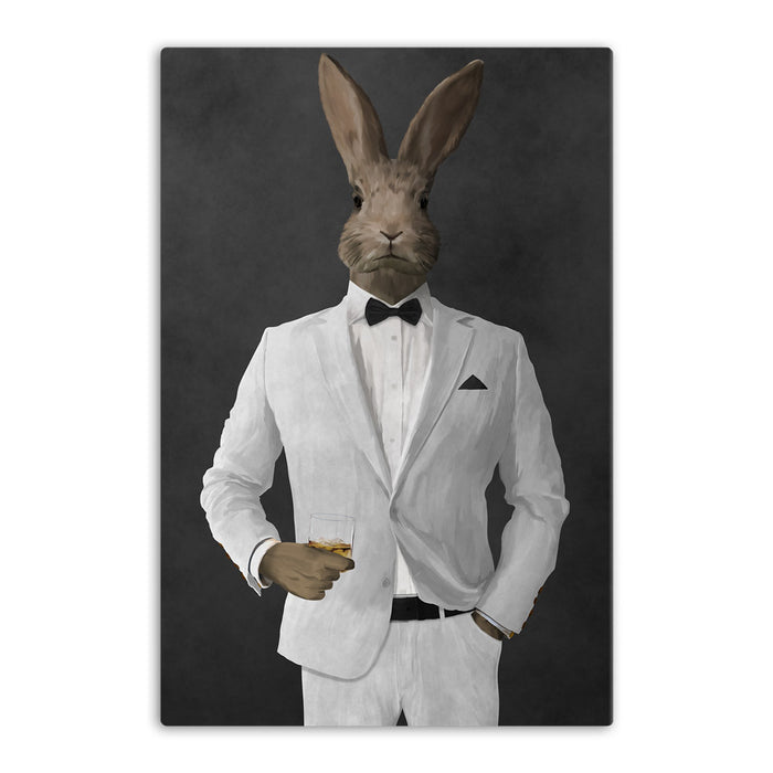 Rabbit drinking whiskey wearing white suit canvas wall art