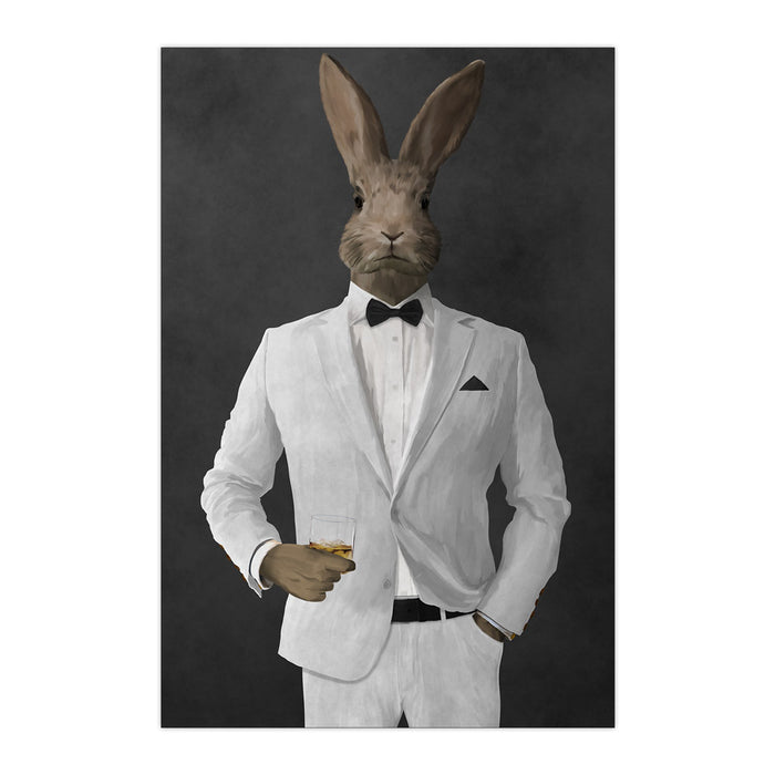 Rabbit drinking whiskey wearing white suit large wall art print