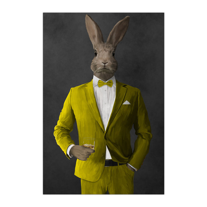 Rabbit drinking whiskey wearing yellow suit large wall art print