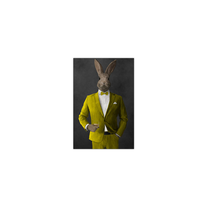 Rabbit drinking whiskey wearing yellow suit small wall art print