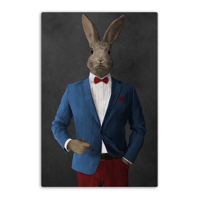 Rabbit smoking cigar wearing blue and red suit canvas wall art