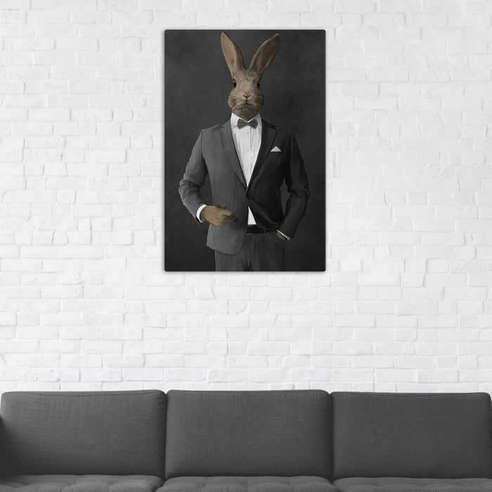 Rabbit Smoking Cigar Wall Art - Gray Suit