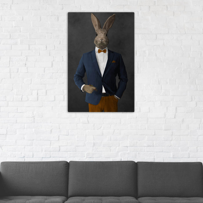 Rabbit Smoking Cigar Wall Art - Navy and Orange Suit