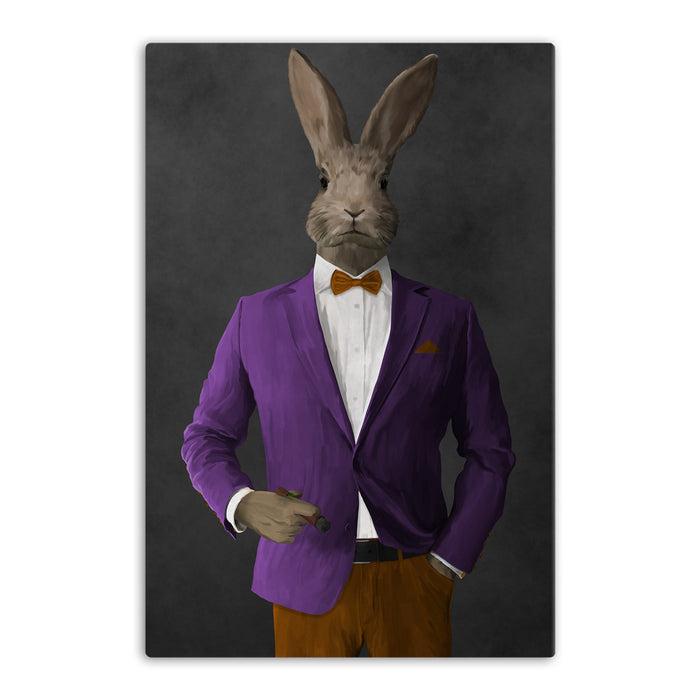 Rabbit smoking cigar wearing purple and orange suit canvas wall art