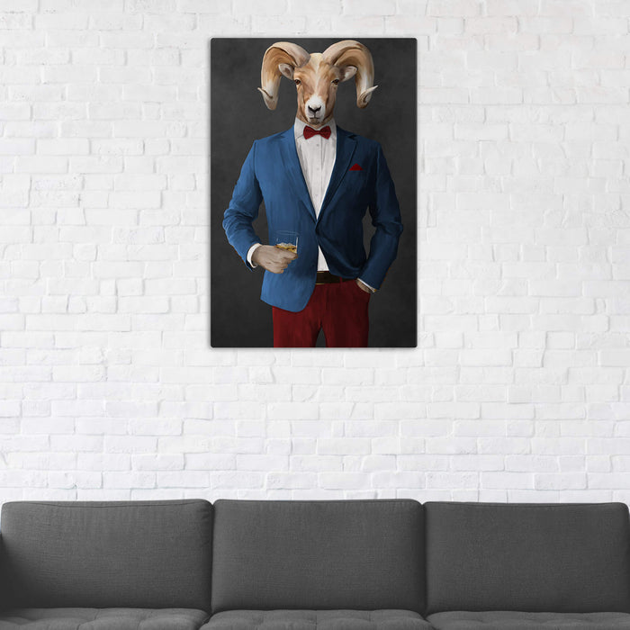 Ram Drinking Whiskey Wall Art - Blue and Red Suit
