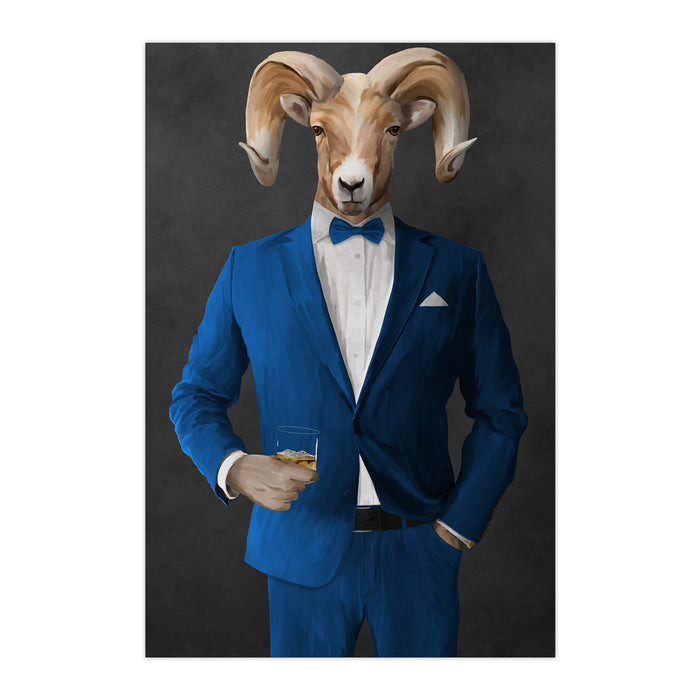 Ram Drinking Whiskey Wall Art - Blue Suit