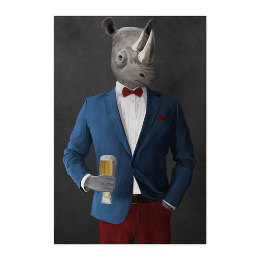 Rhinoceros Drinking Beer Wall Art - Blue and Red Suit