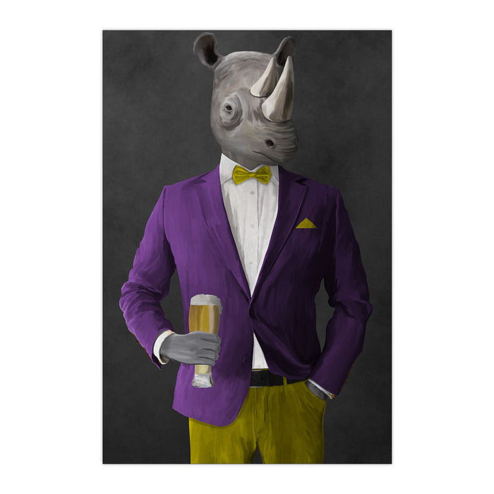Rhinoceros Drinking Beer Wall Art - Purple and Yellow Suit