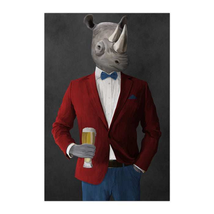 Rhinoceros Drinking Beer Wall Art - Red and Blue Suit