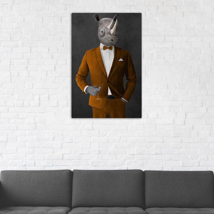 Rhinoceros Drinking Martini Wall Art - Orange Suit