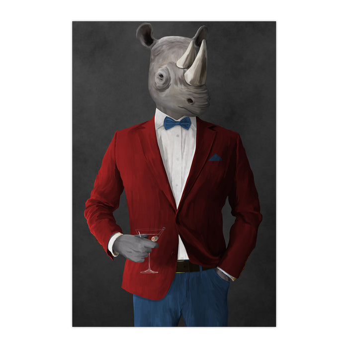 Rhinoceros Drinking Martini Wall Art - Red and Blue Suit