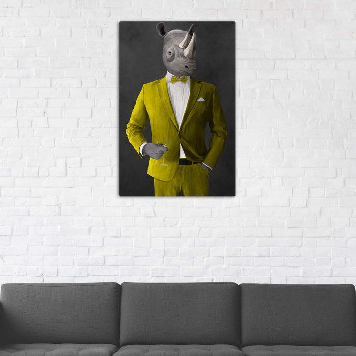 Rhinoceros Drinking Martini Wall Art - Yellow Suit