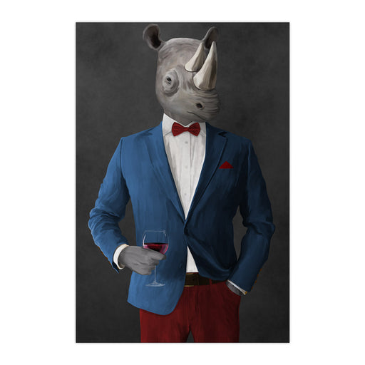 Rhinoceros Drinking Red Wine Wall Art - Blue and Red Suit