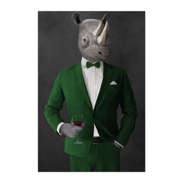 Rhinoceros Drinking Red Wine Wall Art - Green Suit