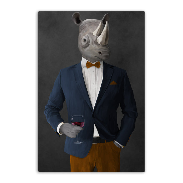 Rhinoceros Drinking Red Wine Wall Art - Navy and Orange Suit