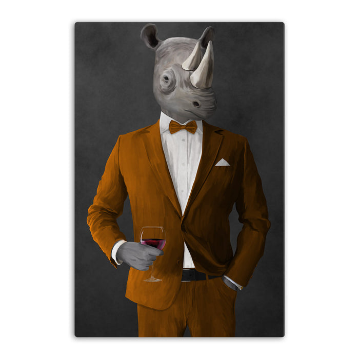 Rhinoceros Drinking Red Wine Wall Art - Orange Suit