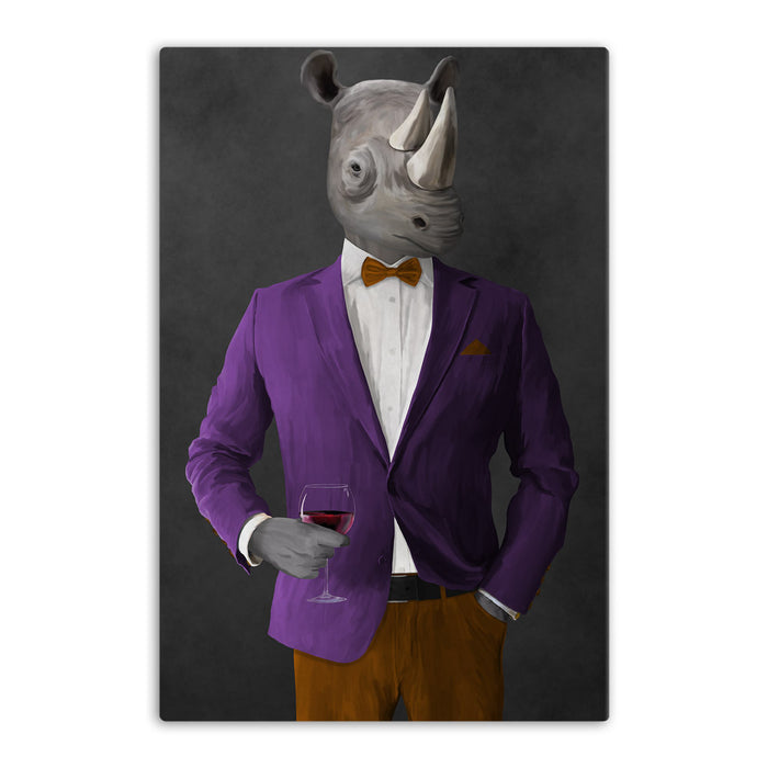 Rhinoceros Drinking Red Wine Wall Art - Purple and Orange Suit