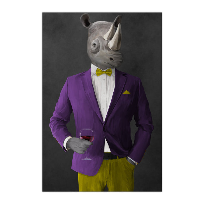 Rhinoceros Drinking Red Wine Wall Art - Purple and Yellow Suit