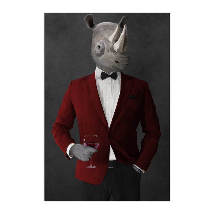 Rhinoceros Drinking Red Wine Wall Art - Red and Black Suit