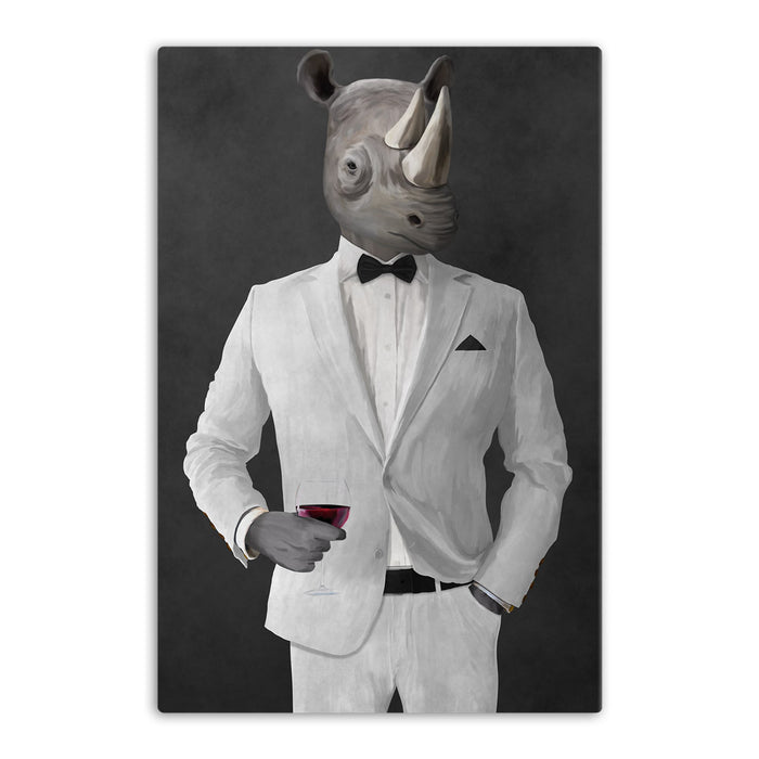 Rhinoceros Drinking Red Wine Wall Art - White Suit