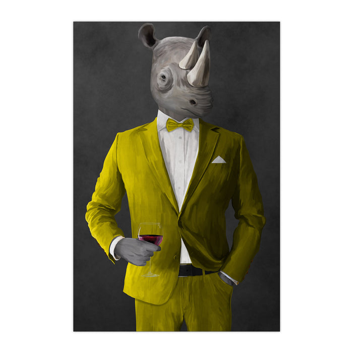 Rhinoceros Drinking Red Wine Wall Art - Yellow Suit