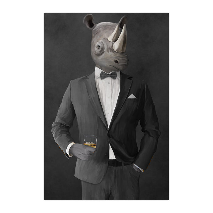 Rhinoceros Drinking Whiskey Wall Art - Gray Suit