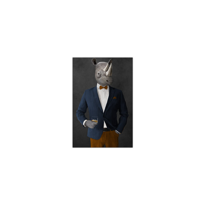 Rhinoceros Drinking Whiskey Wall Art - Navy and Orange Suit