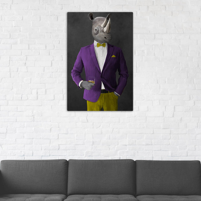 Rhinoceros Drinking Whiskey Wall Art - Purple and Yellow Suit