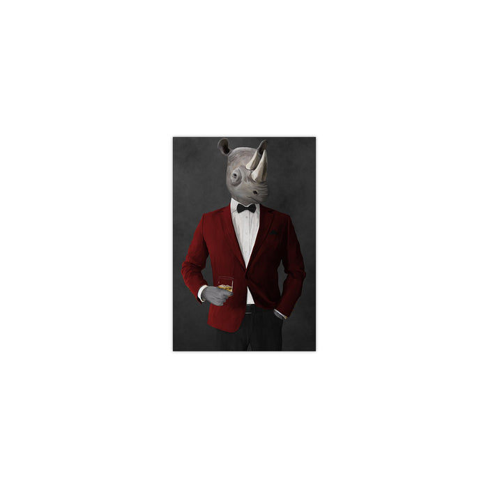 Rhinoceros Drinking Whiskey Wall Art - Red and Black Suit