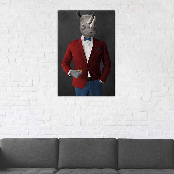 Rhinoceros Drinking Whiskey Wall Art - Red and Blue Suit