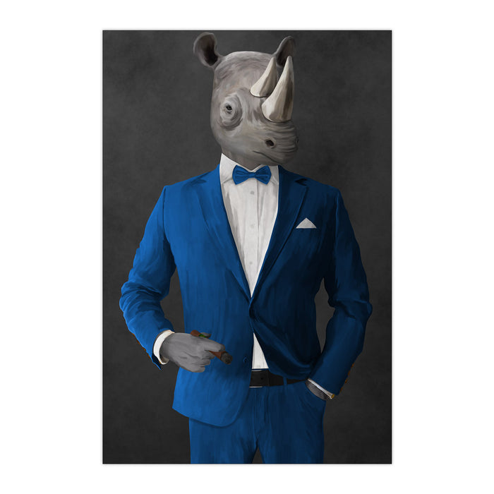 Rhinoceros Smoking Cigar Wall Art - Blue Suit