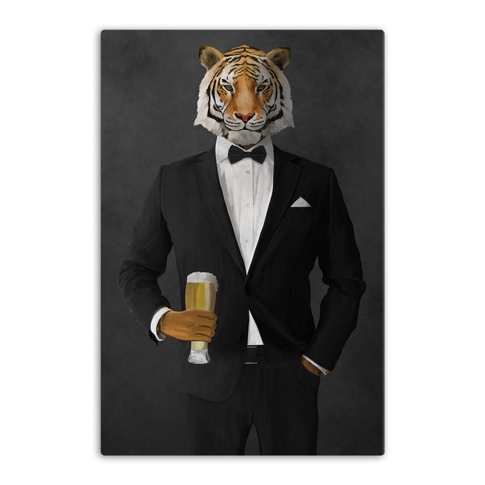 Tiger drinking beer wearing black suit canvas wall art