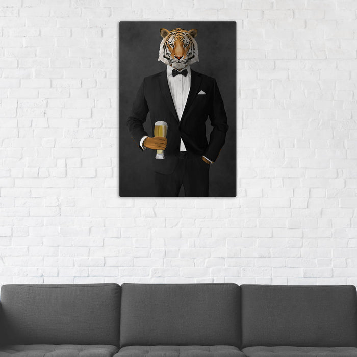 Tiger Drinking Beer Wall Art - Black Suit
