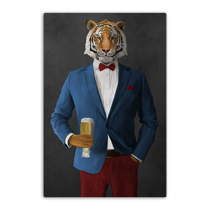 Tiger drinking beer wearing blue and red suit canvas wall art