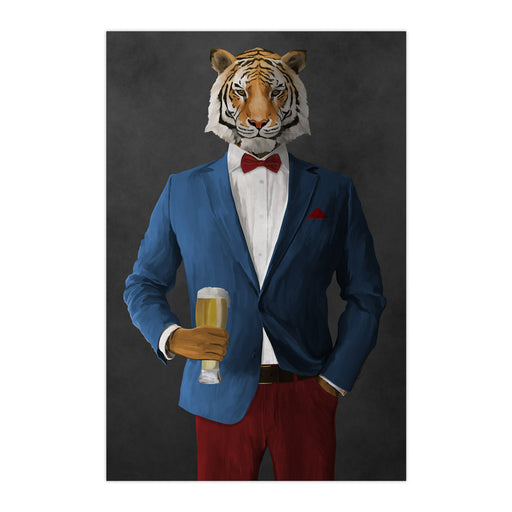 Tiger drinking beer wearing blue and red suit large wall art print