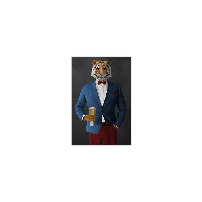 Tiger drinking beer wearing blue and red suit small wall art print