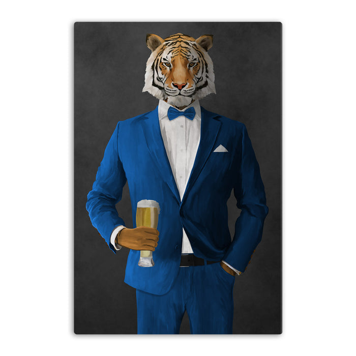 Tiger drinking beer wearing blue suit canvas wall art