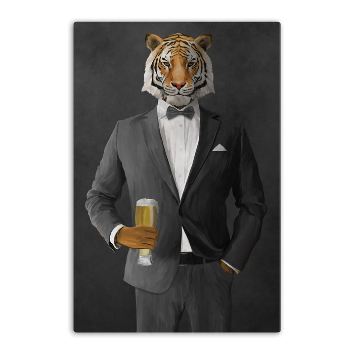Tiger drinking beer wearing gray suit canvas wall art
